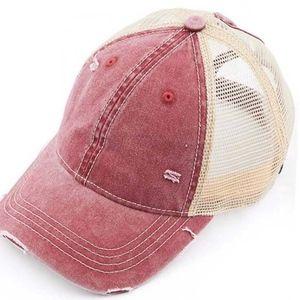 "Accessories - Distressed ""Ponytail"" hat in Crimson"